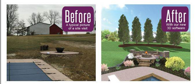 Before and After pictures of a landscaped design